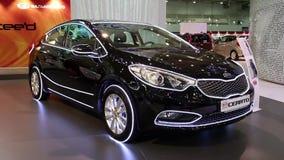 Black KIA Cerato at automotive-show stock video