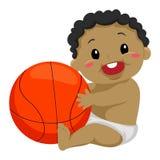 Black Kid Playing the Ball royalty free illustration