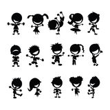 Black kids silhouettes. On white Royalty Free Stock Photography
