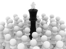 Black king. In crowd of white pawns Royalty Free Stock Photography