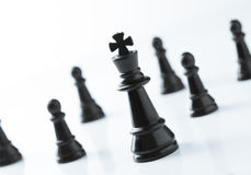 Black King chess in front of team over white background Stock Images