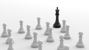 Black king of chess. Leadership concept, black king of chess, standing out from the crowd of white pawns, on white background. 3D rendering Royalty Free Stock Photos