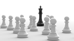 Black king of chess. Leadership concept, black king of chess, standing out from the crowd of white pawns, on white background. 3D rendering Royalty Free Stock Images