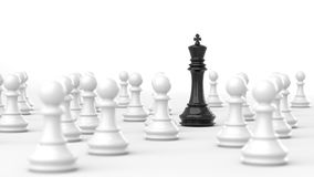 Black king of chess. Leadership concept, black king of chess among white pawns. 3D Rendering Stock Images