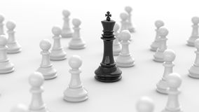 Black king of chess. Leadership concept, black king of chess among white pawns. 3D Rendering Stock Image