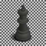 Black King Chess Piece Isometric, Vector Illustration. Stock Photos