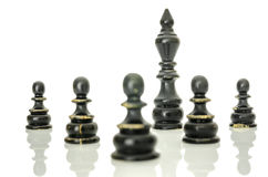 Black king protected with pawns Royalty Free Stock Photography