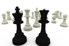 Black king and queen facing white pieces Stock Photos
