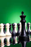 Black king standing in front of all the pawns Stock Photography