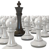 Black king is surrounded by white pawns. White background. 3d render Stock Images