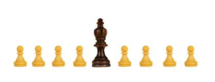 Black king with white pawns royalty free stock photography