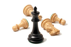 Black king won the game Royalty Free Stock Photo