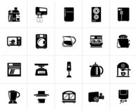 Black kitchen appliances and kitchenware icons. Vector icon set royalty free illustration