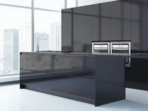 Black kitchen with big windows. 3d rendering Royalty Free Stock Image