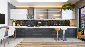 Black kitchen design decor idea. Kitchen design black ceramic with fresh fruit and kitchen machines 3D rendering Stock Photos