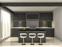 Black kitchen and a dining table. 3d illustration Stock Photos