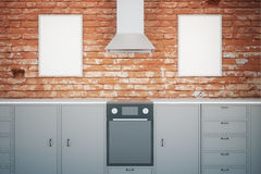 Black kitchen with frames Stock Photography