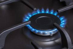 Kitchen gas stove burning burner Stock Photos