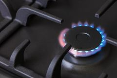Kitchen gas stove burning burner Stock Image