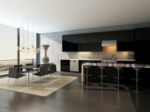 Black kitchen interior with bar stools and dining table Royalty Free Stock Image