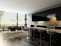 Black kitchen interior with bar stools and dining table Stock Image