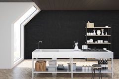 Black kitchen interior, toned. Interior of an attic kitchen with black walls, a cooker, a sink and a cupboard with dishes and cutting boards. 3d rendering, mock Royalty Free Stock Images