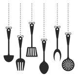 Black kitchen utensils icon image Stock Photos