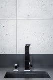 Black kitchen worktop royalty free stock photography