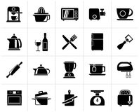 Black Kitchenware objects and equipment icons. Vector icon set Stock Photography