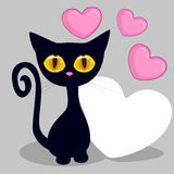 Black kitten with hearts Stock Photos