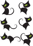 Black kitty cartoon. Black kitty, cat cartoon sat Stock Images