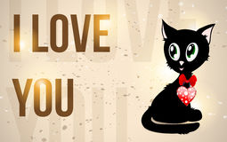 Black kitty with red heart and text Royalty Free Stock Photography