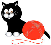 Black kitty series. Black cat is going to play with clew Stock Photography