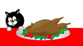 Black kitty series. Black cat is trying to steal the turkey