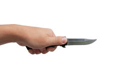 Black knife in his hand Royalty Free Stock Photo
