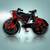 Black Knight Bicycle. Fantastic black powerful knight horse styled bicycle in heavy armor, illustration over icy background with reflection Stock Photos