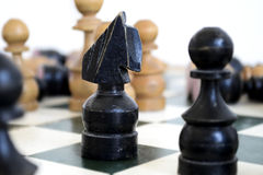 Black Knight. Chess Piece  on a Chess Board Royalty Free Stock Images