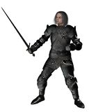 Black Knight in Decorated Armour. Scarred medieval or fantasy knight in decorated black armour holding a sword, 3d digitally rendered illustration Royalty Free Stock Photo