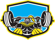 Black Knight Lifting Barbell Front Shield Retro Royalty Free Stock Photo
