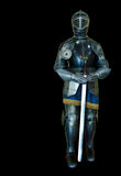 Black Knight Sword. Iron Knight with black background Stock Photography