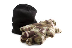 Black knitted cap and gloves Stock Photos