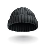 Black knitted cap Stock Photos