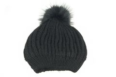 Black Knitted Wool Winter Ski Hat with Pom Pom Royalty Free Stock Image