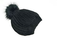 Black Knitted Wool Winter Ski Hat with Pom Pom Stock Photography