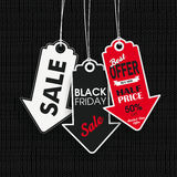 Black Knitting Fabric Black Friday 3 Price Stickers Arrows. Black friday price sticker on the knitted background Royalty Free Stock Photos
