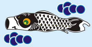 Black koinobori. Black fish carper from japanese symbol that represent about the struggleness Royalty Free Stock Photos