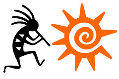 Black Kokopelli and orange sun Stock Image