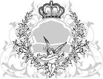 black krönad grå white för cupid royaltyfri illustrationer