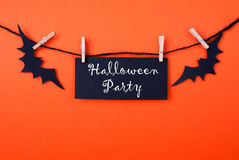 Black Label with Halloween Party. Black Label with the Words Halloween Party on Orange Background Royalty Free Stock Image