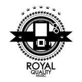 Black Label Royal Quality Music Stamp Stock Image